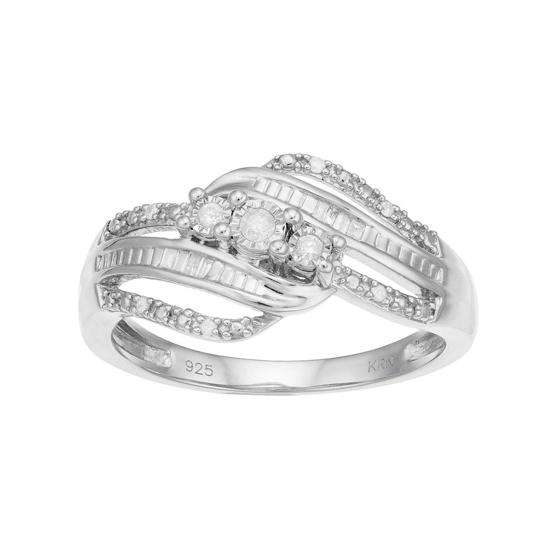 Sterling Silver 1 10 Carat T W Diamond 3 Stone Twist Ring Twist Ring Sterling Silver Rings Sterling Silver