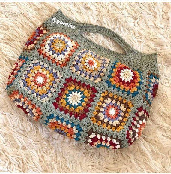 Crochet Gypsy Granny Square Bag Crochet Purse Woman's Shoulder Boho Bag ... :  C...  Crochet Gypsy Granny Square Bag Crochet Purse Woman's Shoulder Boho Bag … :  Crochet gypsy gran  GrannySquareCrochet