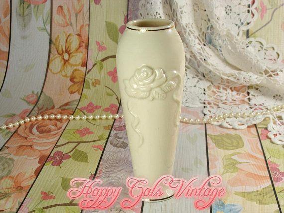 Lenox Ivory White Vase With Rose Relief Lenox White Vase Vintage