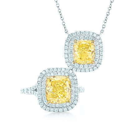 Yellow diamonds are a girls best friend my style pinterest tiffany co double border ring and pendant a double border diamond setting enhances the remarkable color and purity of tiffany yellow diamonds in a mozeypictures Image collections