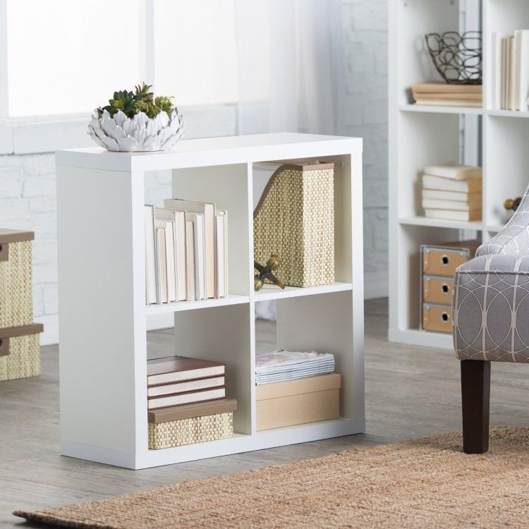 Small White Bookcase Compact Media Storage Unit Bookshelf Book