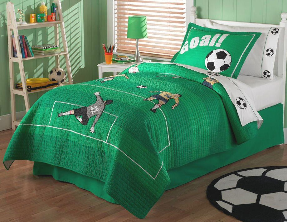 Exceptional Green Soccer Bedding For Boys Twin Quilt Set   Soccer Comforter Embroidered  Bedspread