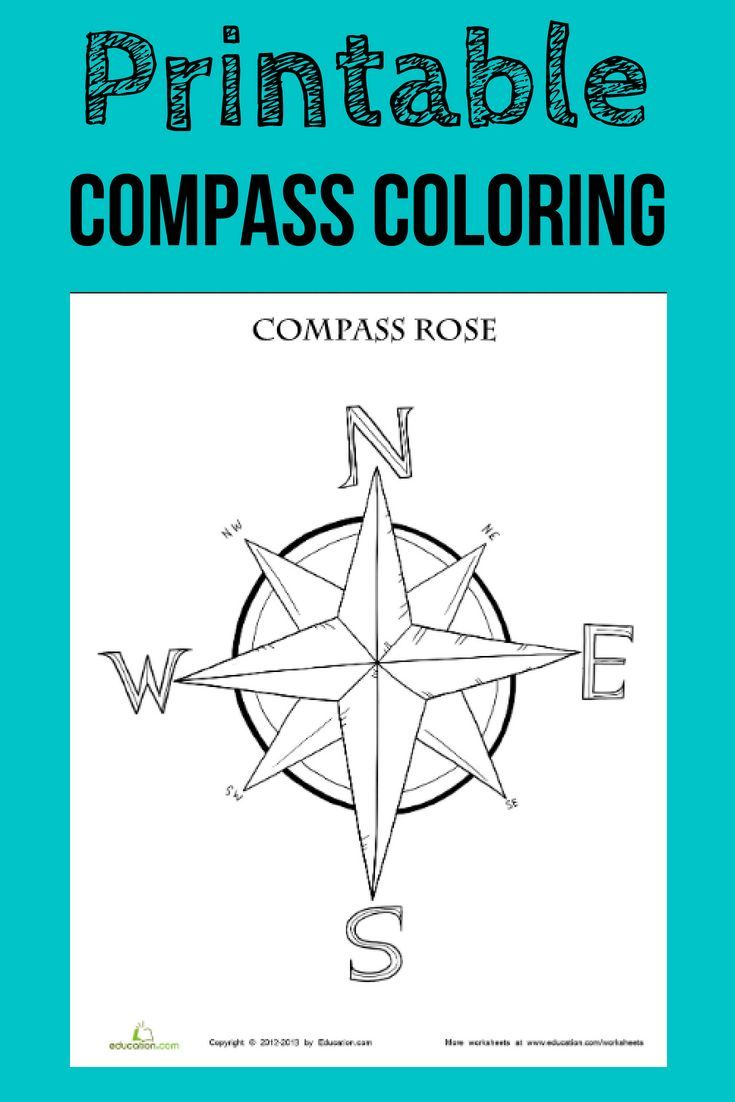 Which Way Is Which Teach Your Little Navigator The Basic Compass Directions With This Free Compass R Compass Rose Compass Rose Activities Rose Coloring Pages