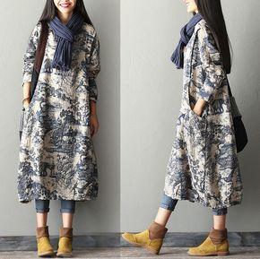New Print Cotton Linen Dress Robe - Free size fit for S/M/L(US 8-14) / Blue - Women Linen Dress Loose Fitting Dress Maxi Dress - Buykud- 1