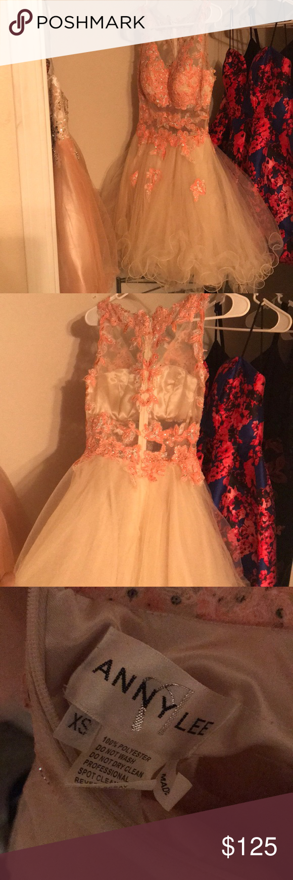 Homecomingprom dress coral nude and pink color xs my posh picks