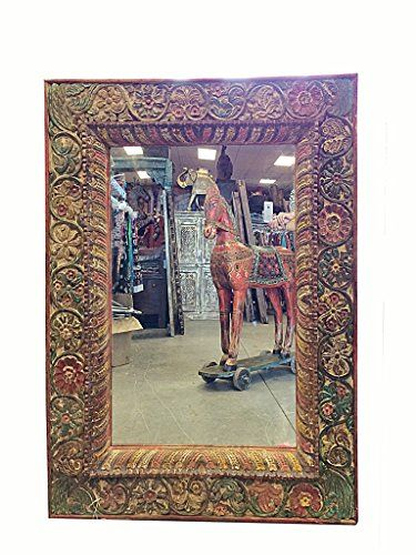 Floral Carving Jharokha Rustic Carved Mirror Decor Antique Indian Architectural Wooden Colorful Painted Mogul Interior http://www.amazon.com/dp/B00QEYMMP2/ref=cm_sw_r_pi_dp_I.bbvb163NKQ7