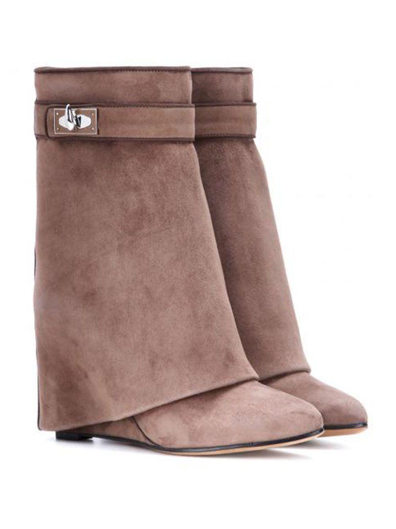 Light Brown Suede Twist Buckle Detail High Boots