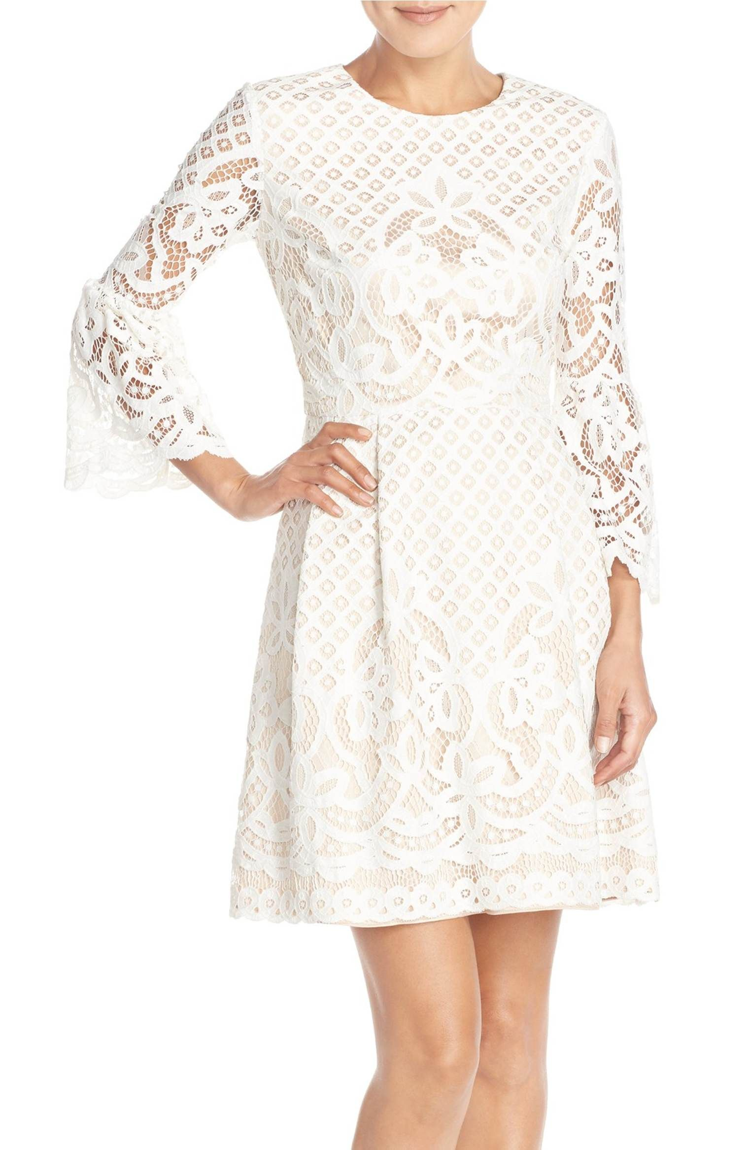 Main Image - Eliza J Bell Sleeve Fit & Flare Dress (Regular & Petite ...