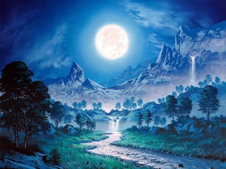Harmony In Full Moon Winter Amp Nature Background Wallpapers On Moonlight Painting Nature Backgrounds Free Winter Wallpaper