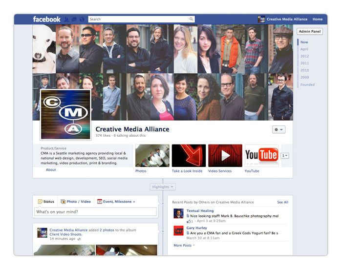 CMA Social Media Marketing designs and manages custom Facebook Timeline Pages. http://creativemediaalliance.com/news/cma-facebook-its-about-timeline