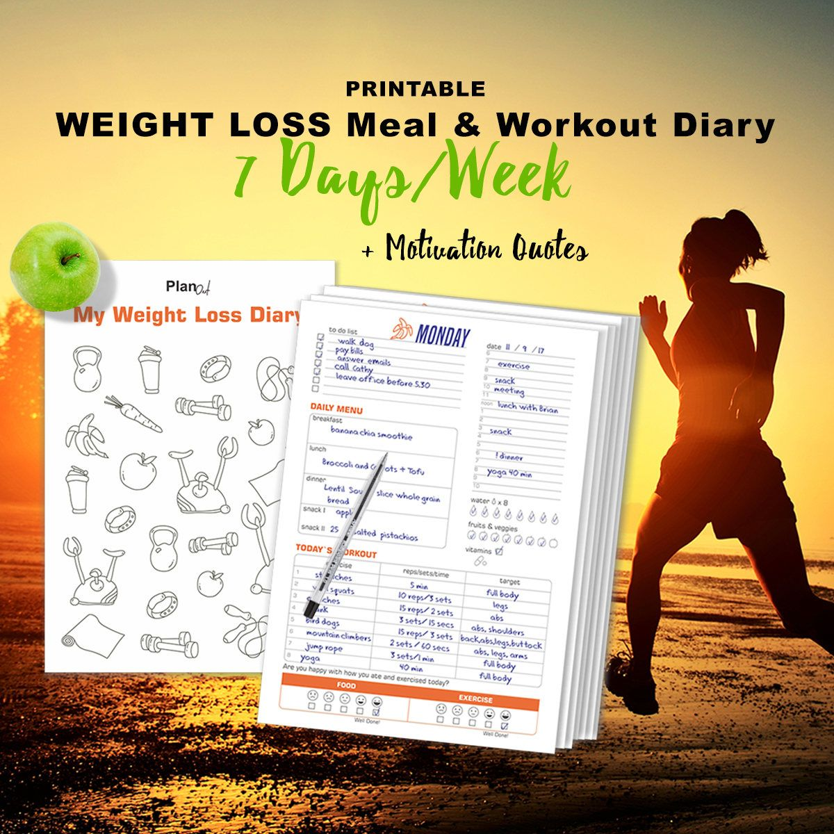 Daily Meal u Workout Diary Weight Loss Planner Habit  Health