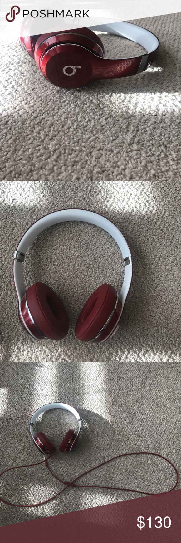 Burgundy Beats Solo, With Wire BRAND new. Worn twice to test out ...