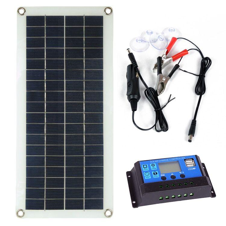 Learning Education Toys 30w 12v Dual Usb Flexible Solar Panel Battery Charger Kit Car Boat Controller Solar Panel Battery Flexible Solar Panels Dual Usb