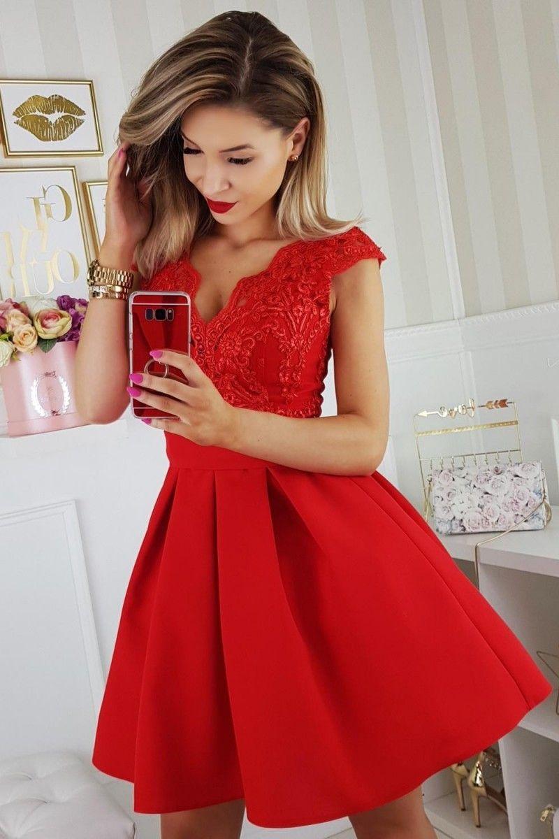 35917a314f Sukienka czerwona bombka rozkloszowana koronka tiul w 2019 ...