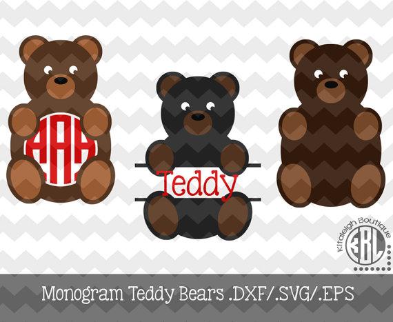 36+ Teddy Bear Monogram Frames Svg/Dxf Cut Files Image