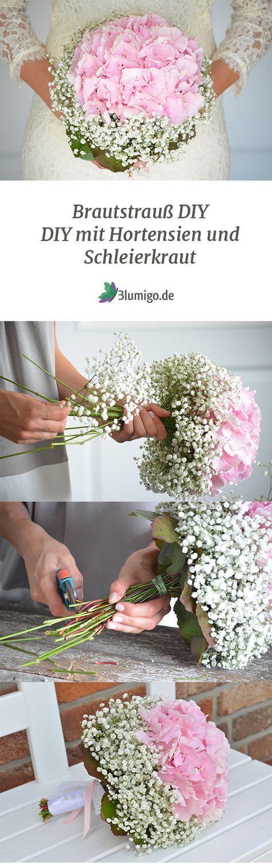 Machen Sie Ihren eigenen Braustrauß – machen Sie es sich selbst Anweisungen (DIY) mit rosa Hortensien, …