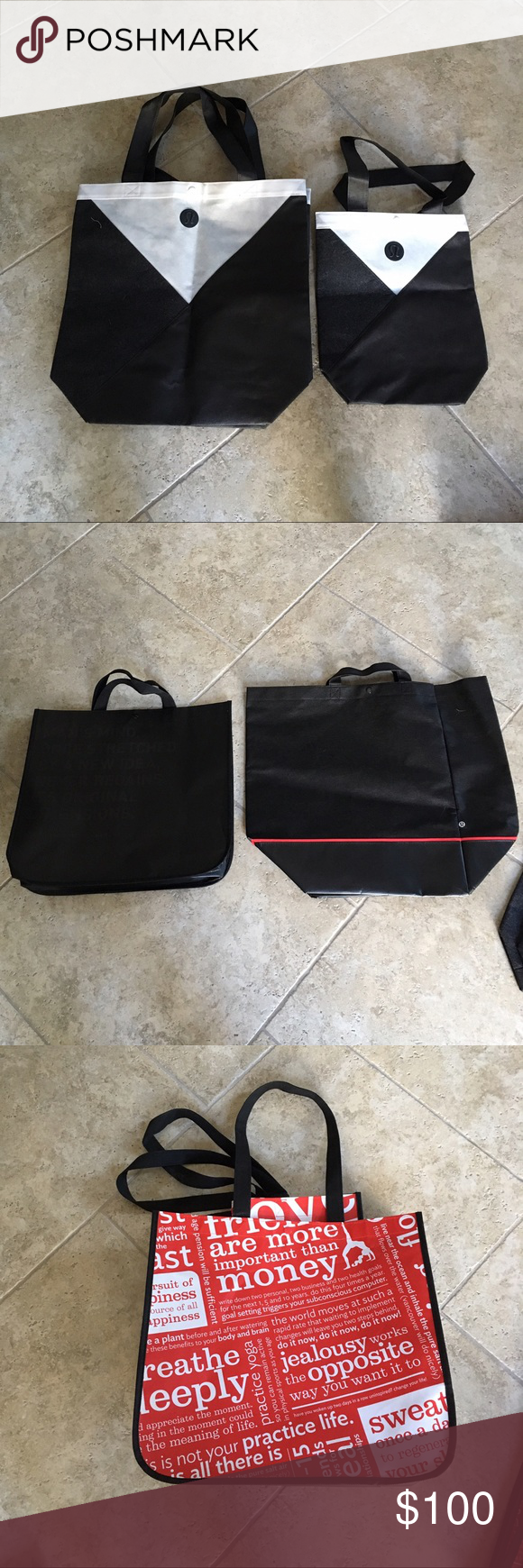 Reuseable lulu totes 1 Large Solid black plastic (2nd pic)                                       1 Large Canvas Black with Red Stripe (2nd pic)            6 Small Plastic Red and White (1st pic)                  Tell me what you want and we'll agree on price and I'll create a custom bundle for you! Or the entire listing for $20 lululemon athletica Bags Totes