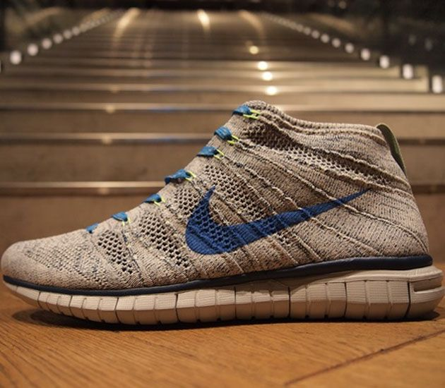 25d8e5d4dff6 Nike Free Flyknit Chukka–Wolf Grey-Photo Blue-Brave Blue-Electric Green