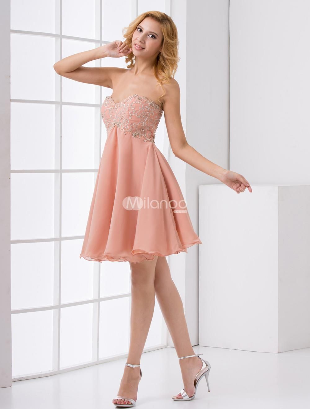 Aline pink chiffon embroidered sweetheart short trendy homecoming