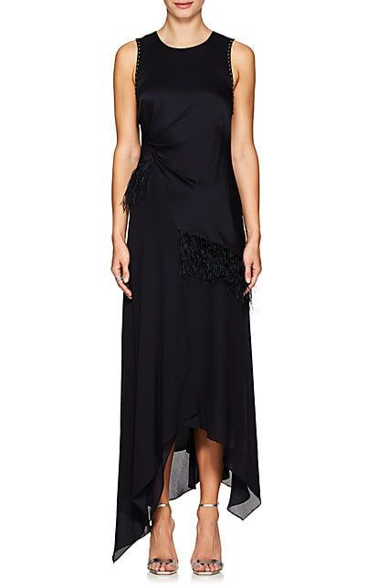 3.1 Phillip Lim Feather-Trimmed Silk Maxi Dress | Maxi dresses ...