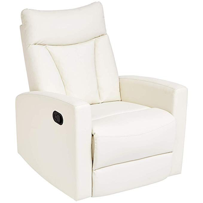 Amazon Com Jc Home Javik Swivel Glide Recliner With Faux Leather Upholstery Creamy White Kitch White Accent Chair Accent Chairs Leather Upholstery