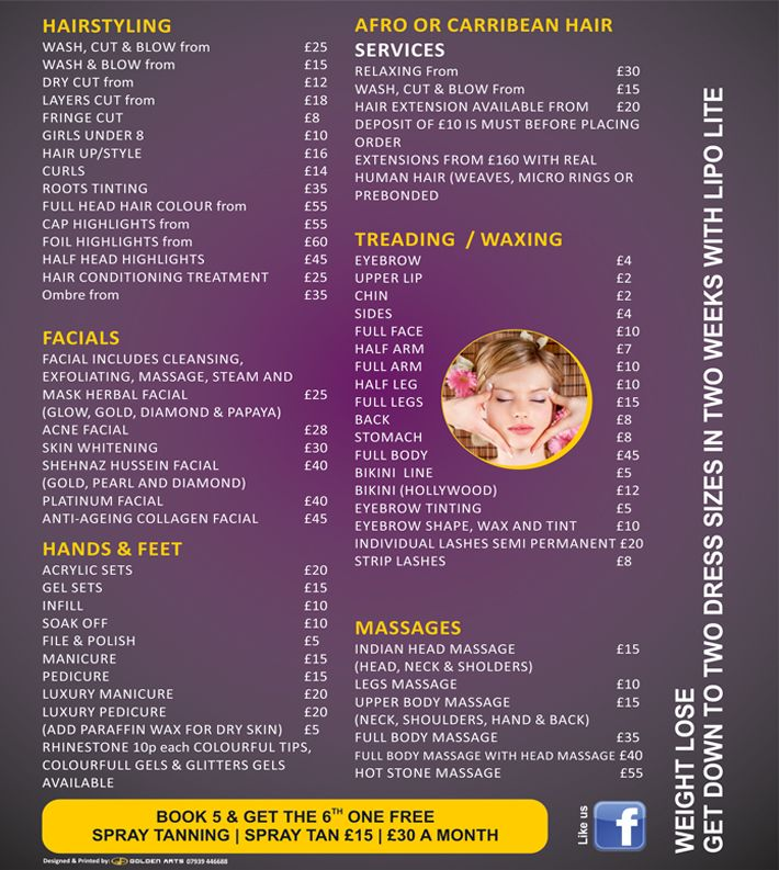 Sara Salon Price List  Salon Project    Price List And