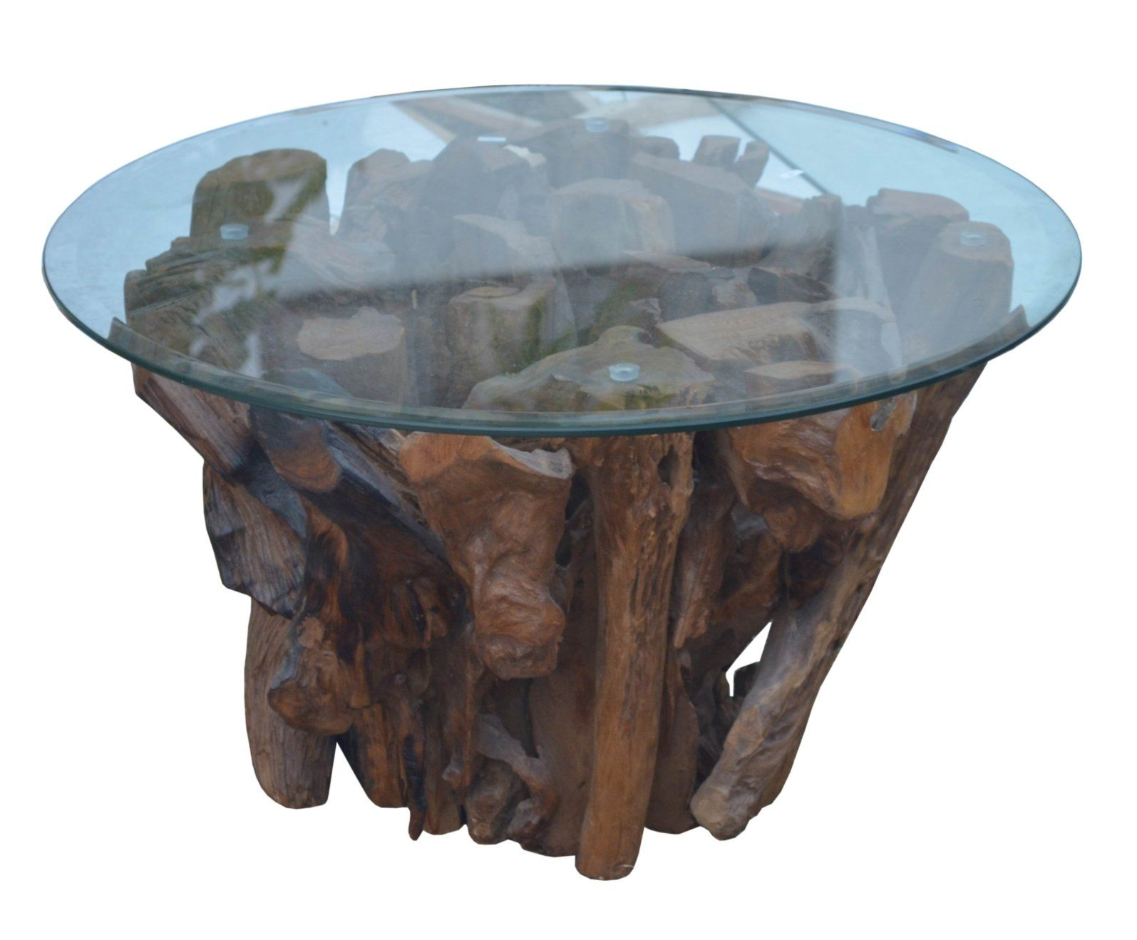 Driftwood coffee table with top glass with images