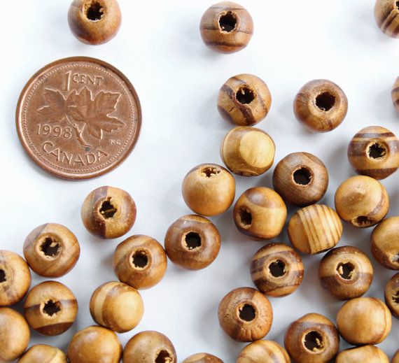 """25 Burly Wooden Beads 8mm BD509 1//4/"""""""