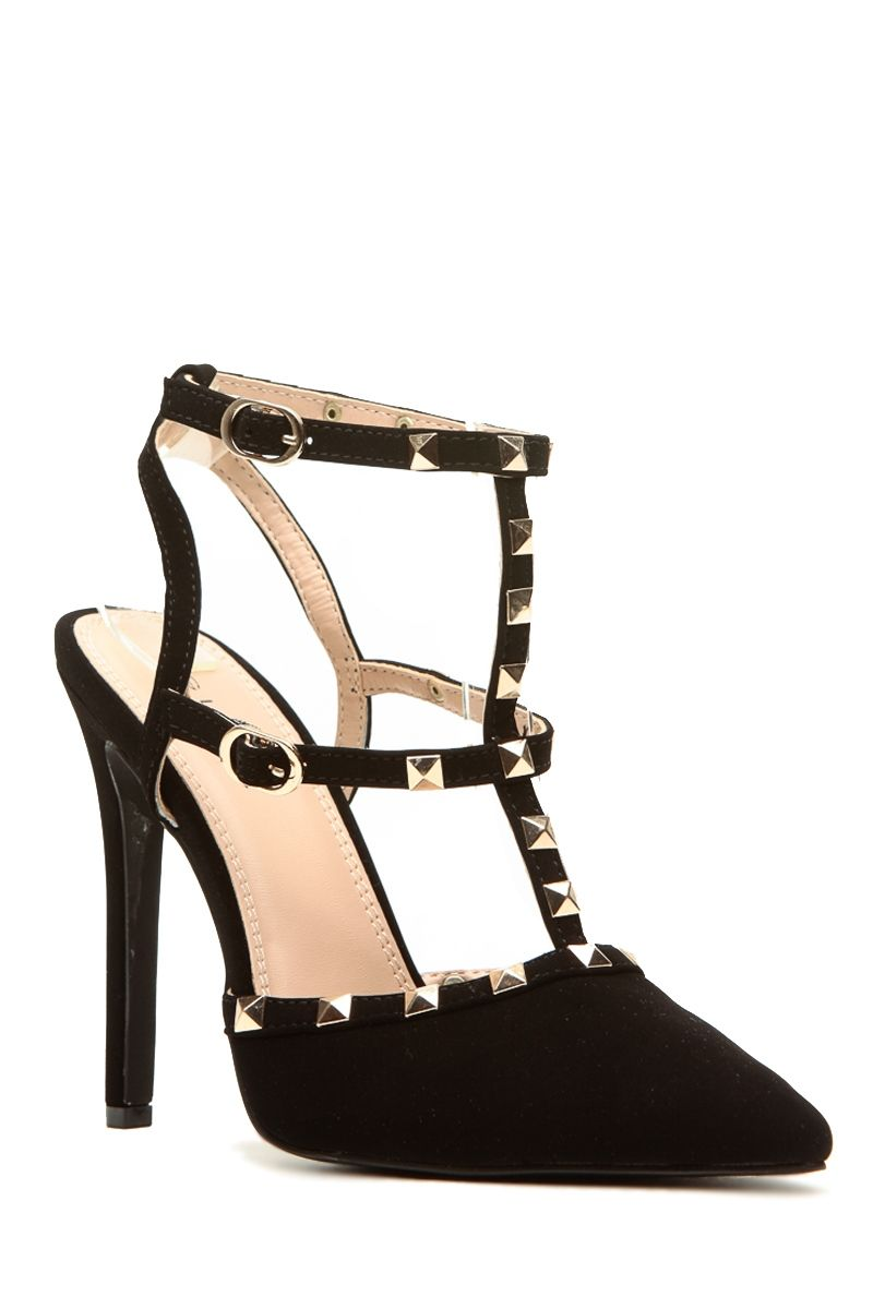 Black W Gold Strappy Heels