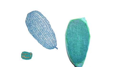 feuille impression bleue gravure sur gomme fait main