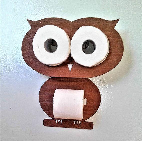 owl toilet paper holder funny set for 3 rolls toilet paper made from valuable wood veneer in. Black Bedroom Furniture Sets. Home Design Ideas