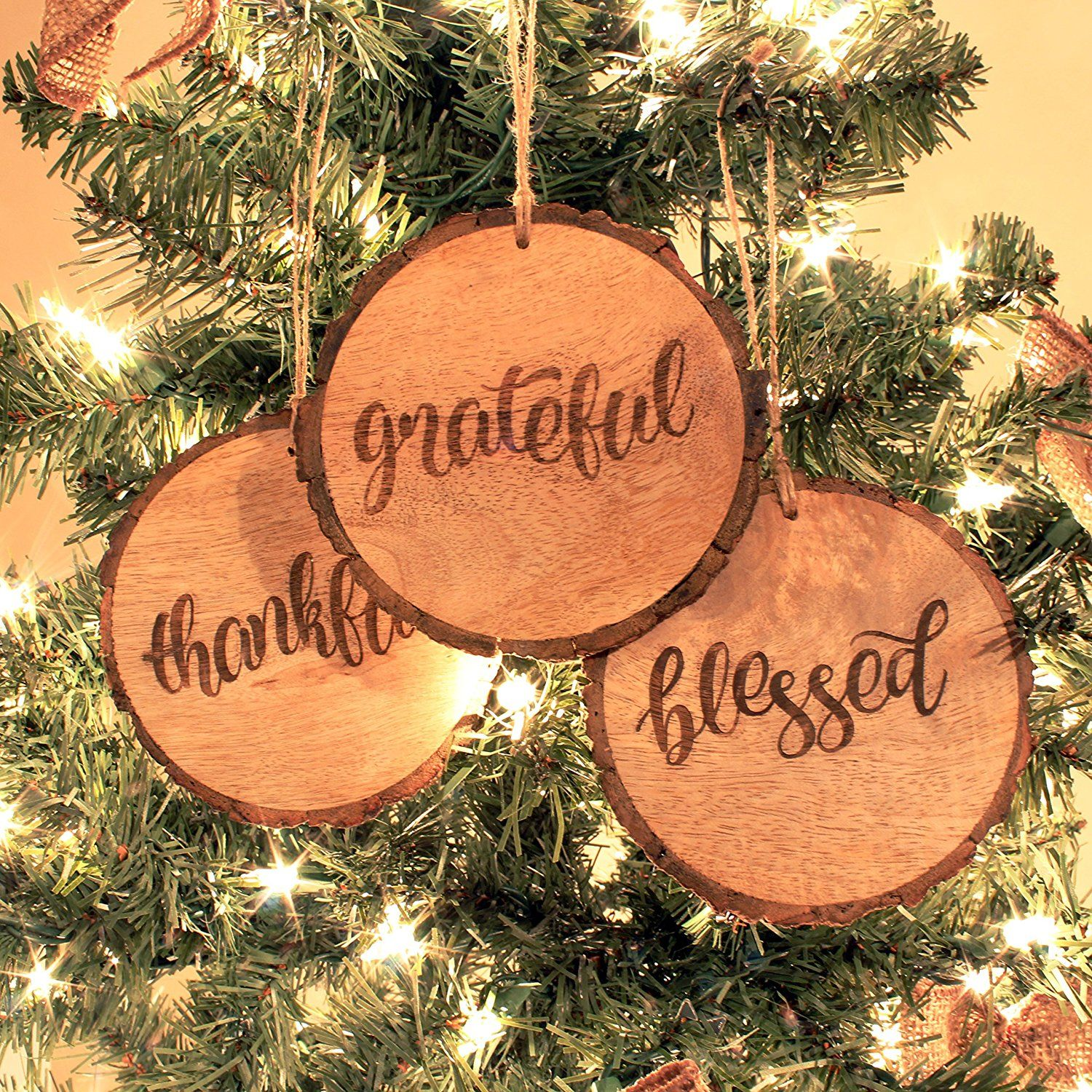 Amazon Com Rustic Christmas Ornaments With Thankful Grateful Blessed Set Of 3 4 Inch Rou Rustic Christmas Ornaments Holiday Decor Rustic Christmas