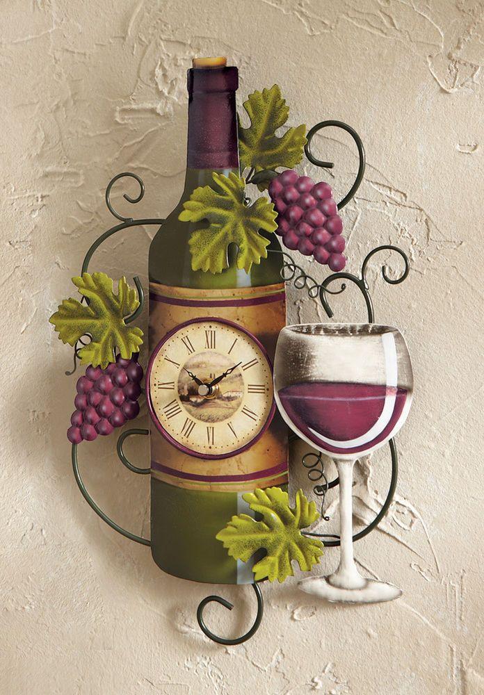 Wine Bottle Wall Clock Kitchen Vineyard Winery Decor