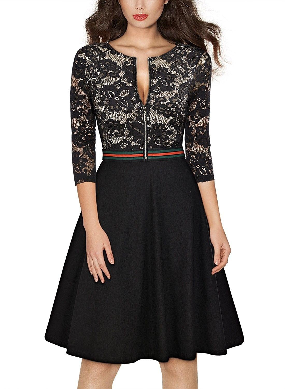 e08cb31ec080ee Women s Vintage Floral Lace Front Zipper 3 4 Sleeve Elegant Swing Dress -  Black - C017WTK89X5