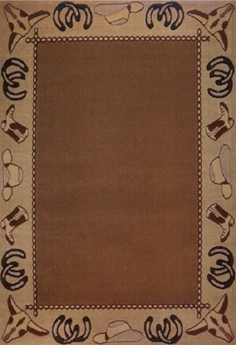 Country Western Cowboy Rustic Boots Cow Skulls Horse Shoes 4x6 Area Rug Carpet Cowboy Rustic Western Rugs 4x6 Area Rugs