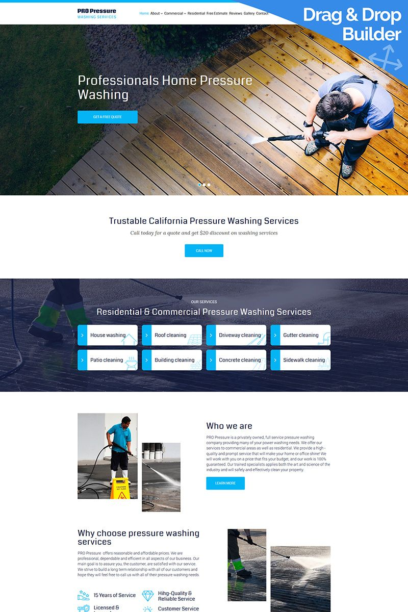 Pro Pressure Washing Services Moto CMS 3 Template 93239