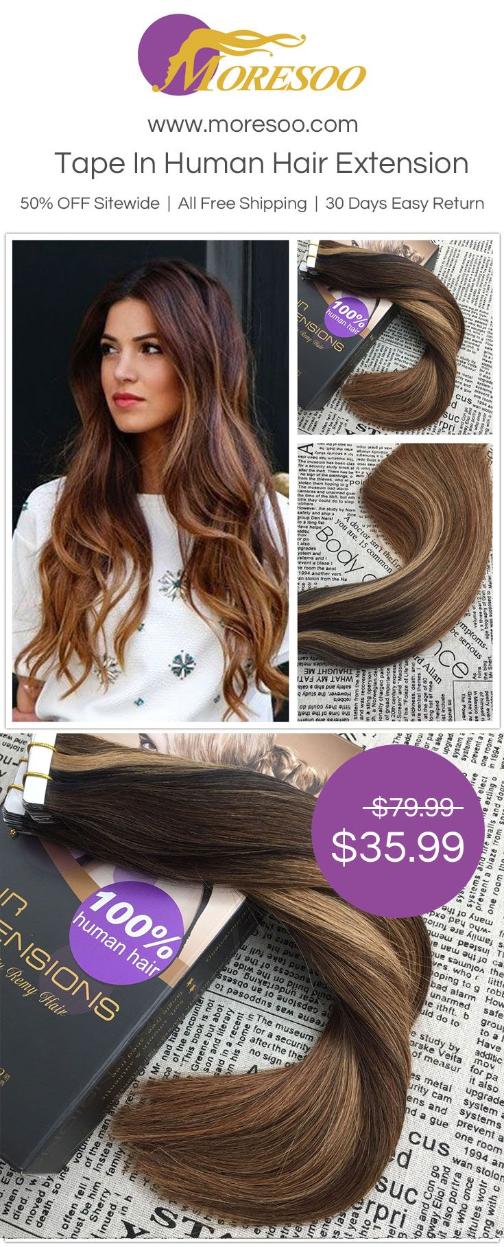 Tape In Balayage Ombre Human Hair Extension At Moresoo