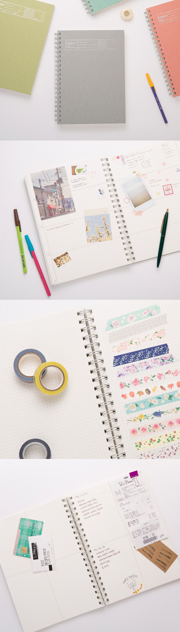 Lined Note, Large Grid Note, Grid Note and Weekly Plan Note! 4 types of Notes are all here! Use this versatile notebook for note taking, scheduling, drawing, scrapbooking and so on!