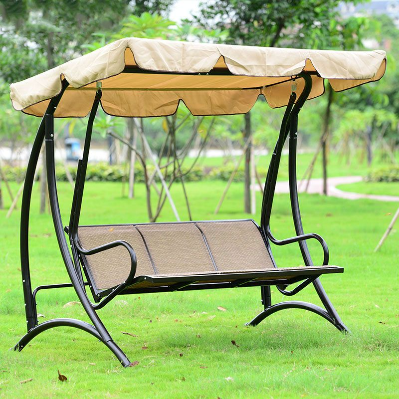 hawaii durable iron 3 person canopy garden swing chair hammock outdoor furniture cover seat bench