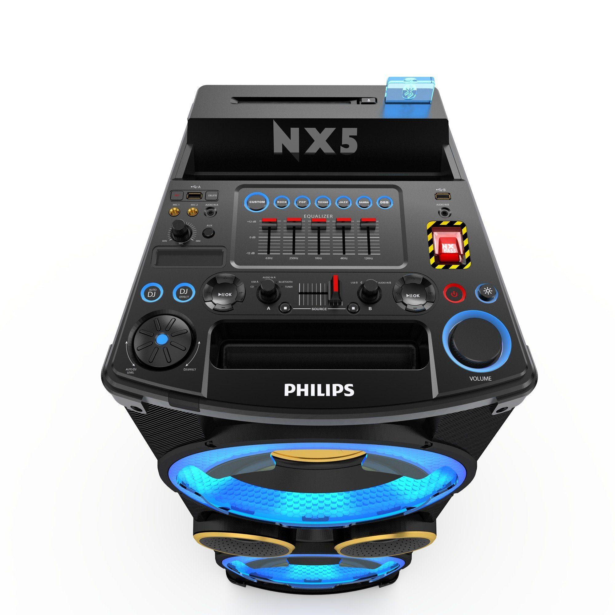 Philips Ntrx500 10 Mini Hifi System 650 Watt 5 Band Equalizer Lautsprecher Bluetooth Fm Digital Dual Usb Schwarz Amazon De Philips Sound System System