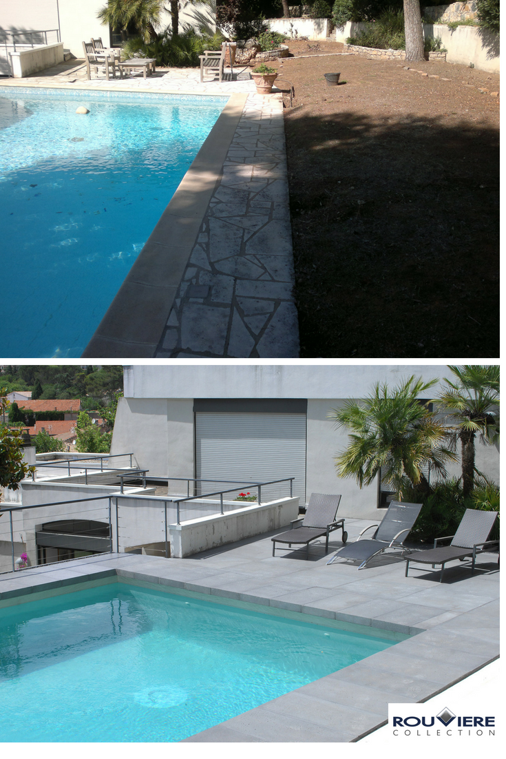 Renovation Ou Pool Staging D Une Piscine Nouvel Enduit Effet Beton Cire Applique Directement Sur La Mosaique Ex Piscine Terrasse Beton Terrasse Autour Piscine