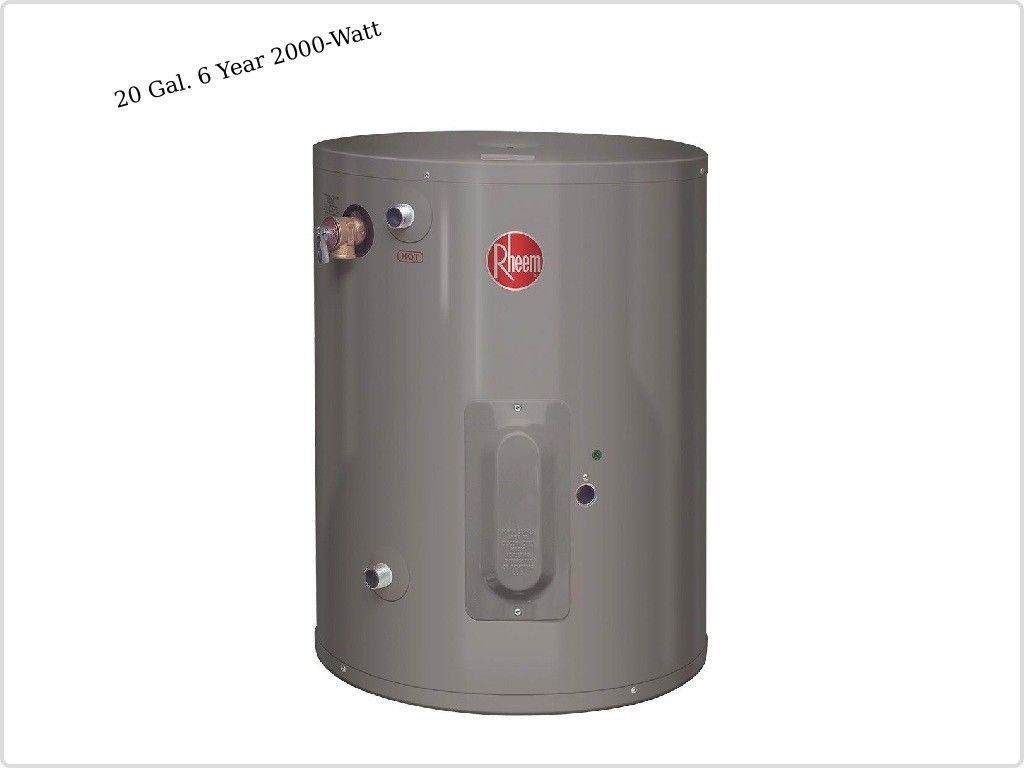 Water Heaters 2000 Watt Single Element Electric Point Of Use 20 Gallons 6 Year Watt Home Improvement Water Heater