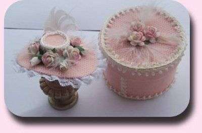 1:12 Hat ensemble hat with hatbox by CDHM Artisan Malinik Miniatures