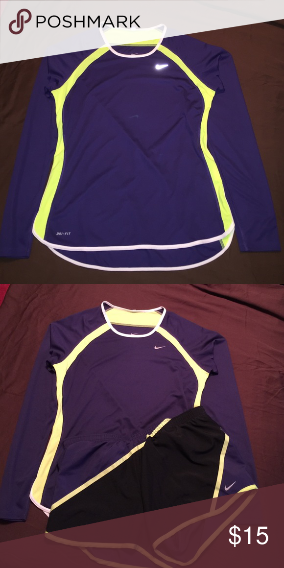 Nike dry fit Running Top Nike dry fit running top. Purple & Yellow. Shorts sold in separate listing. Perfect match! Worn once EUC Nike Tops Tees - Long Sleeve