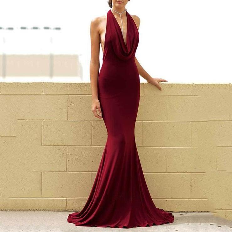 Sleeveless Bare Back Halter Evening Dress