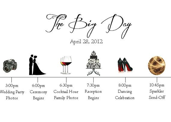The Big Day- Wedding Day Timeline $250 each Caitlinu0027s Wedding - wedding timeline