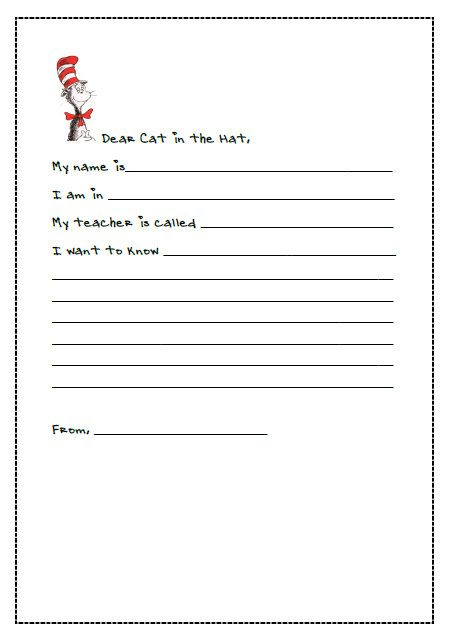 Letter Writing With Dr Seuss Letter Writing Template Writing Printables Writing