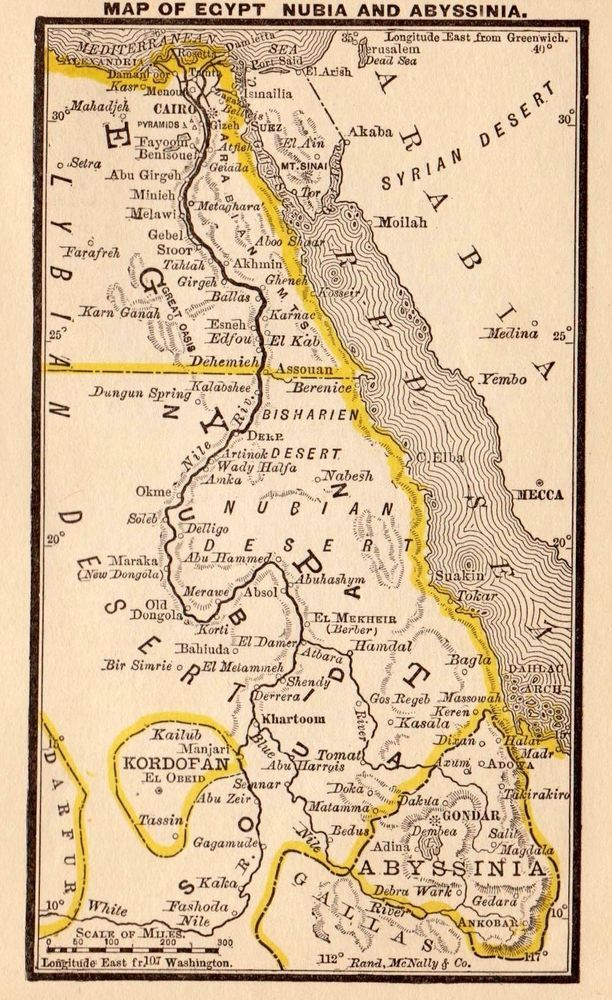 Antique EGYPT Map w NUBIA Map ABYSSINIA Map 1887 RARE MINIATURE Map 2807