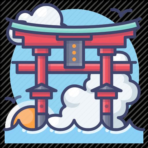 Itsukushima Japan Landmark Shrine Icon Download On Iconfinder Shrine Icon Landmark