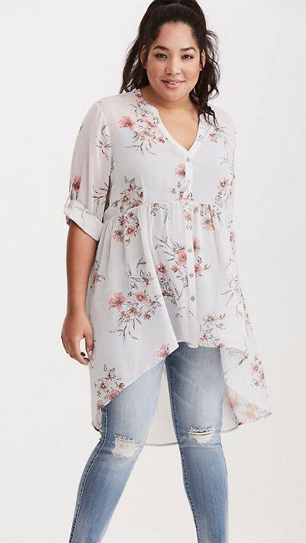 aa188fdf177 Plus Size Floral Print Chiffon Button Tunic